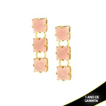 Imagem de Brinco com Três Pedras Acrílicas Rosa Claro - 0209240