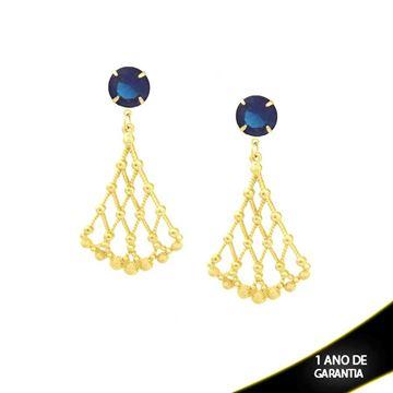 Imagem de Brinco Leque Trançado com Pedra Redonda Azul - 0208923