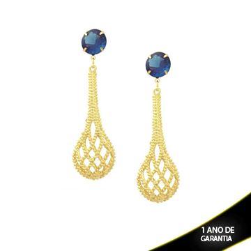 Imagem de Brinco Grande Gota Trançada com Pedra Azul - 0208929
