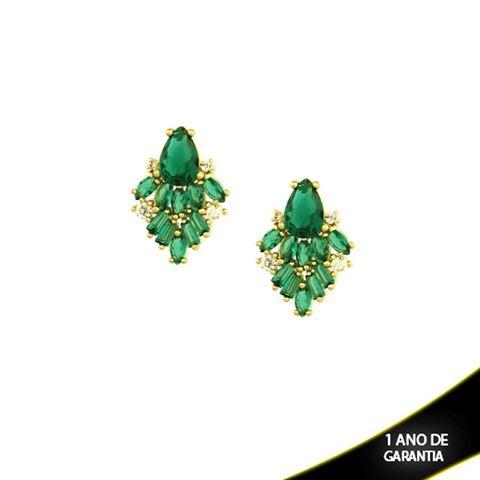 Imagem de Brinco Pequeno de Gota com Zircônias Brancas e Verdes - 0210028
