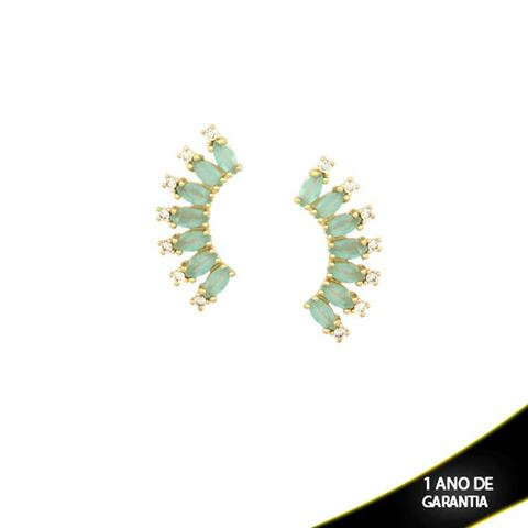 Imagem de Brinco Arco de Pedras de Zircônia Brancas e Navetes Azul Claro - 0210030