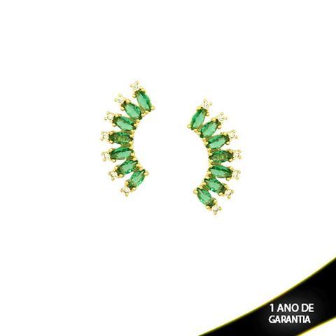 Imagem de Brinco Arco de Pedras de Zircônia Brancas e Navetes Verdes - 0210030