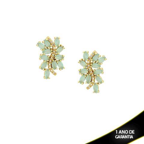 Imagem de Brinco com Pedras de Zircônias Brancas e Azul Claro - 0210048