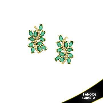 Imagem de Brinco com Pedras de Zircônias Brancas e Verdes - 0210048