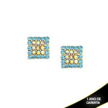 Imagem de Brinco Quadrado com Pedras de Strass Furta-cor e Azul Claro - 0210123