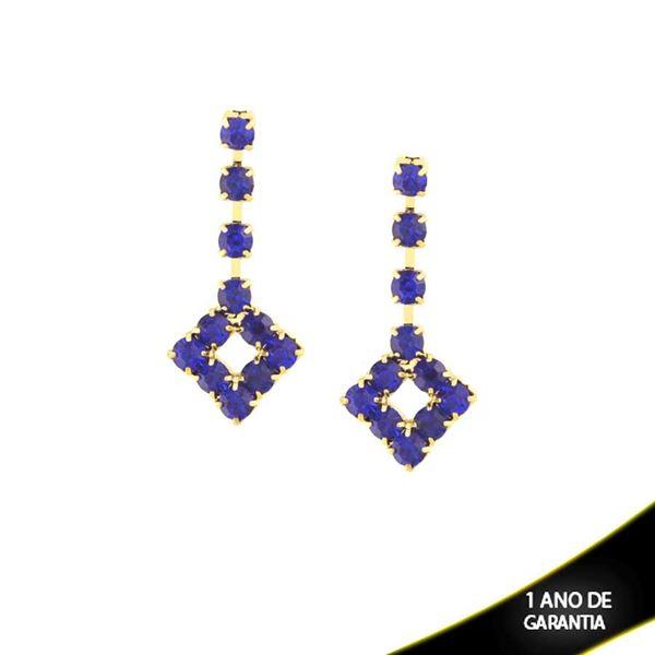 Imagem de Brinco Quadrado com Pedras de Strass Azul Bic - 0210125