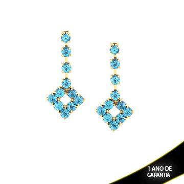 Imagem de Brinco Quadrado com Pedras de Strass Azul Claro - 0210125