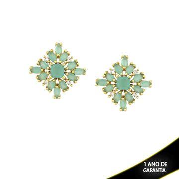 Imagem de Brinco Quadrado com Zircônias Brancas e Verde Água - 0210142