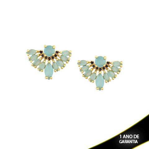 Imagem de Brinco de Leque com Pedras de Zircônia Pretas e Azul Claro - 0210146