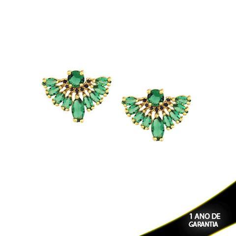 Imagem de Brinco de Leque com Pedras de Zircônia Pretas e Verdes - 0210146
