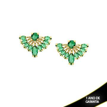 Imagem de Brinco de Leque com Pedras de Zircônia Brancas e Verdes - 0210146