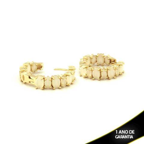 Imagem de Brinco de Argola com Pedras Naturais Ovais Branco Gelo - 0210152