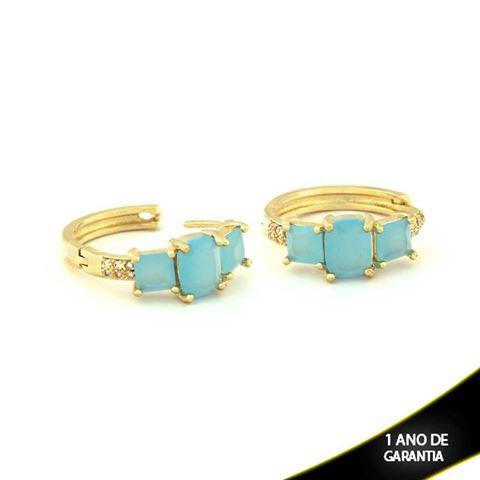 Imagem de Brinco de Argola com Três Pedras Naturais Azul Claro - 0210153