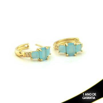 Imagem de Brinco de Argola com Três Pedras Naturais Azul Claro e Zircônias Brancas - 0210157