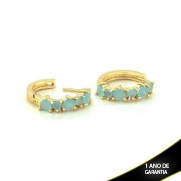 Imagem de Brinco de Argola com Corações de Pedras Naturais Azul Claro - 0210158