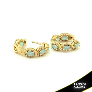 Imagem de Brinco de Argola com Zircônias Brancas e Pedras Naturais Ovais Azul Claro - 0210151