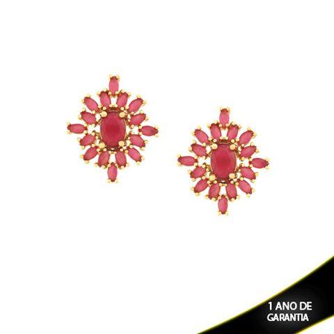 Imagem de Brinco de Pedras Naturais Ovais Pink - 0210141