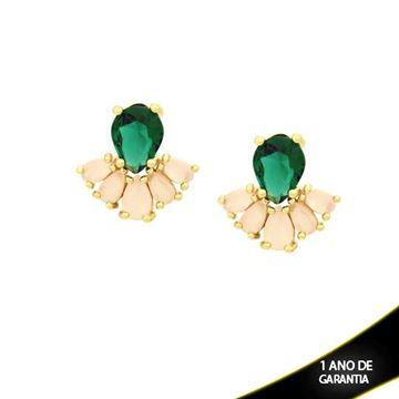 Imagem de Brinco de Leque com Pedras Naturais em Gota Verde e Rosa - 0210147