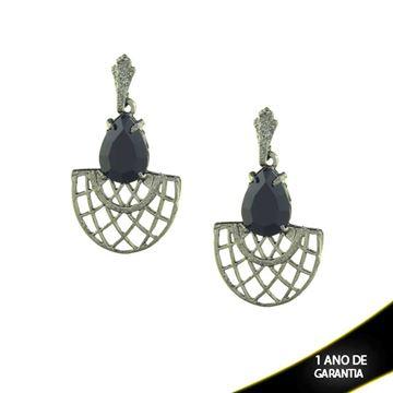 Imagem de Brinco de Leque em Banho Negro com Pedra Acrílica Preta - 0210239