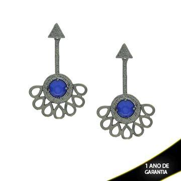 Imagem de Brinco Leque em Banho Negro com Pedra Acrílica Redonda Azul - 0210235