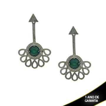 Imagem de Brinco Leque em Banho Negro com Pedra Acrílica Redonda Verde - 0210235