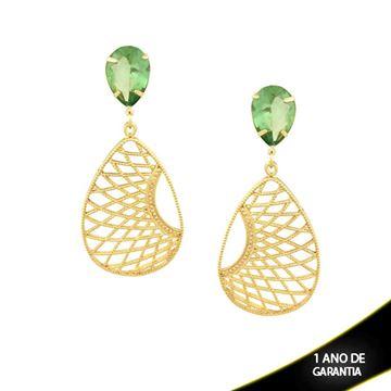 Imagem de Brinco Grande Réplica Gota Trançada com Pedra Acrílica Verde Claro - 0208925
