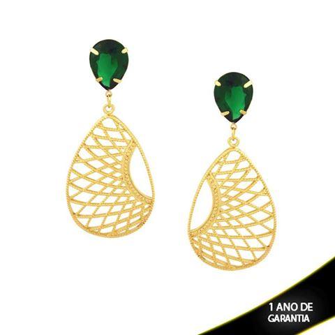 Imagem de Brinco Grande Réplica Gota Trançada com Pedra Acrílica Verde Escuro - 0208925