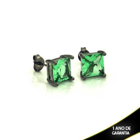 Imagem de Brinco em Banho Negro com Pedra Natural Quadrada Verde Claro - 0210340