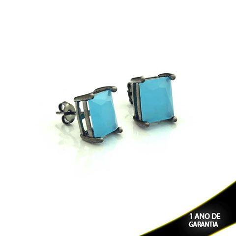 Imagem de Brinco em Banho Negro com Pedra Natural Retangular Azul Claro - 0210337