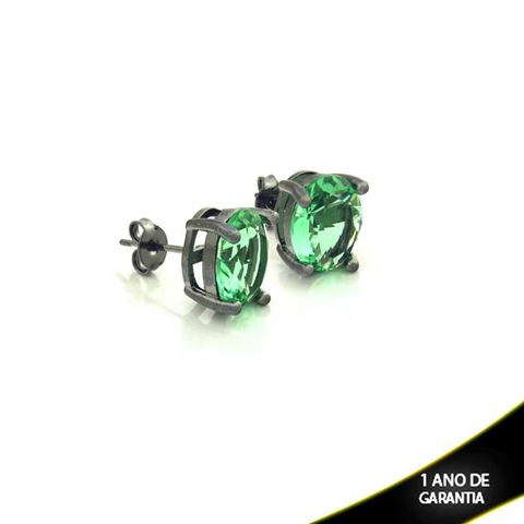 Imagem de Brinco em Banho Negro com Pedra Natural Oval Verde Claro - 0210341