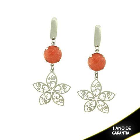 Imagem de Brinco em Aço Inox de Flor com Pedra Acrílica Rosa - 0205382