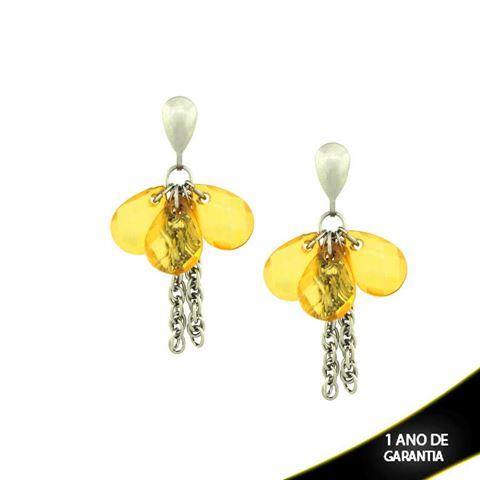 Imagem de Brinco em Aço Inox Correntes com Pedras Acrílicas Amarelas - 0201616
