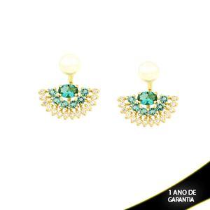 Imagem de Brinco Ear Jacket de Pérola com Leque de Pedras Naturais e Zircônias Azul Claro - 0210200