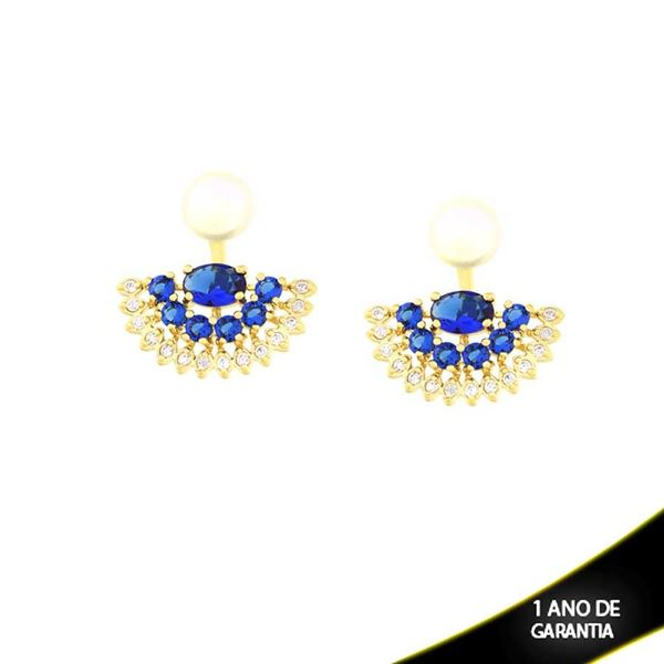 Imagem de Brinco Ear Jacket de Pérola com Leque de Pedras Naturais e Zircônias Azul Escuro - 0210200