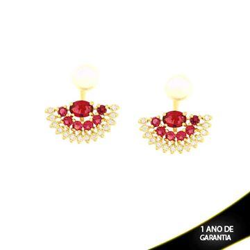 Imagem de Brinco Ear Jacket de Pérola com Leque de Pedras Naturais e Zircônias Pink - 0210200