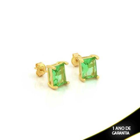 Imagem de Brinco com Pedra Natural Retangular Verde Claro - 0210385