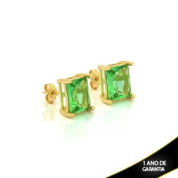 Imagem de Brinco de Pedra Natural Retangular Verde Claro - 0210390