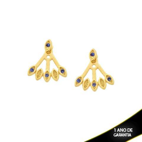 Imagem de Brinco Ear Jacket com Três Pedras de Strass Azul - 0209293