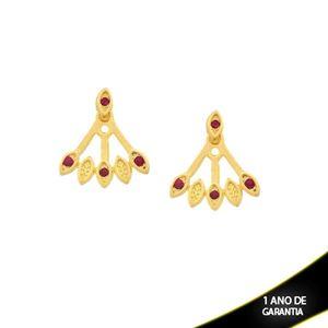 Imagem de Brinco Ear Jacket com Três Pedras de Strass Pink - 0209293