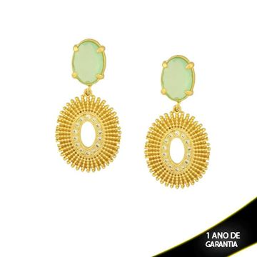 Imagem de Brinco Oval com Zircônias e Pedra Acrílica Verde Claro - 0210439
