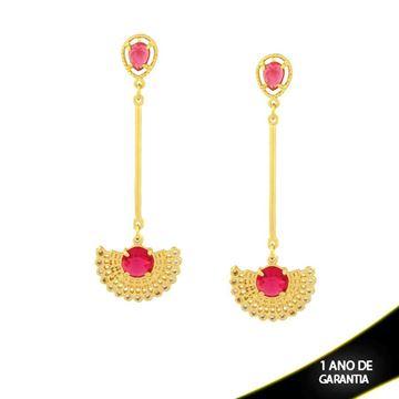 Imagem de Brinco de Leque com Zircônias e Duas Pedras Acrílicas Pink - 0210438