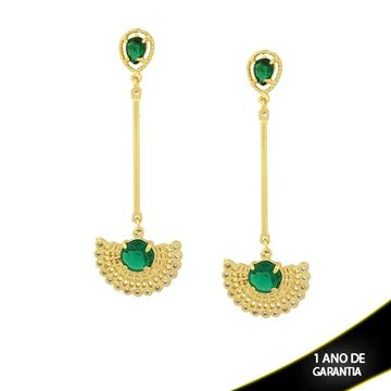 Imagem de Brinco de Leque com Zircônias e Duas Pedras Acrílicas Verde - 0210438