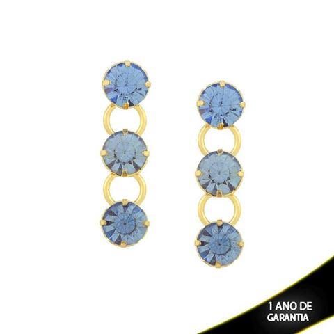 Imagem de Brinco com Três Pedras Redondas de Strass Azul - 0209238