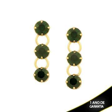 Imagem de Brinco com Três Pedras Redondas de Strass Verde - 0209238