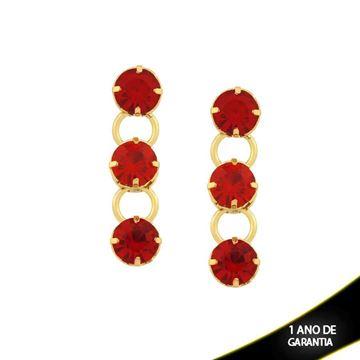 Imagem de Brinco com Três Pedras Redondas de Strass Vermelho - 0209238