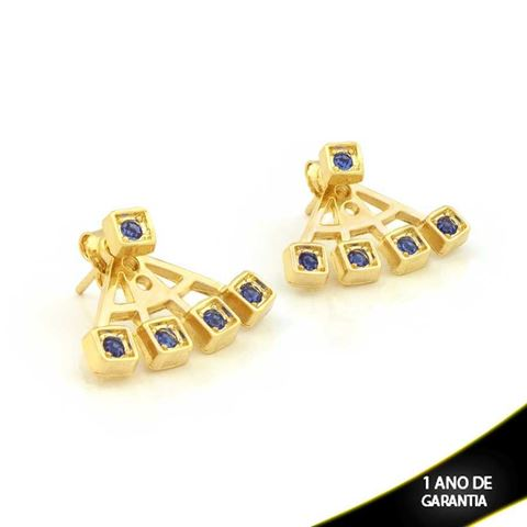 Imagem de Brinco Ear Jacket Quadradinhos com Pedras de Strass Azul - 0209287