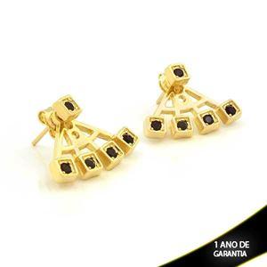 Imagem de Brinco Ear Jacket Quadradinhos com Pedras de Strass Preto - 0209287