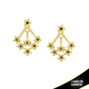 Imagem de Brinco Ear Jacket de Estrelas com Strass Pretos - 0209290
