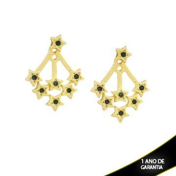 Imagem de Brinco Ear Jacket de Estrelas com Strass Verde Escuro - 0209290