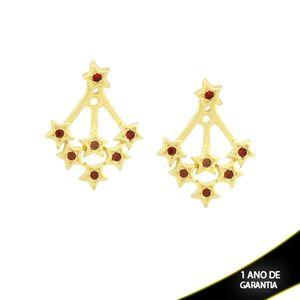 Imagem de Brinco Ear Jacket de Estrelas com Strass Vermelho Escuro - 0209290